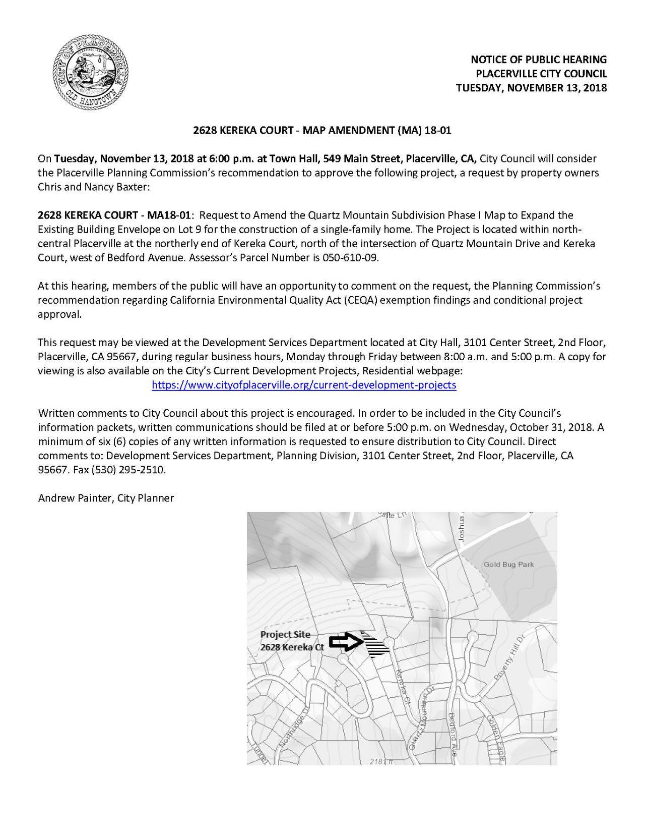 Placerville California Map.City Of Placerville California 2628 Kereka Court Map Amendment
